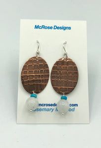 McRose Rm13 Copper Oval Earrings with Moonstone and Turquoise