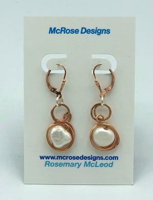 McRose Rm15 Rose Gold and Pearl Earrings