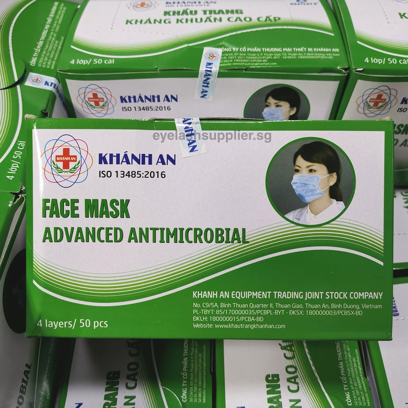 50PC Surgical Face Mask 4 Ply | Earloop | KHANH AN 4-Ply | SG Seller | Made in Vietnam - Eyelash Supplier Singapore