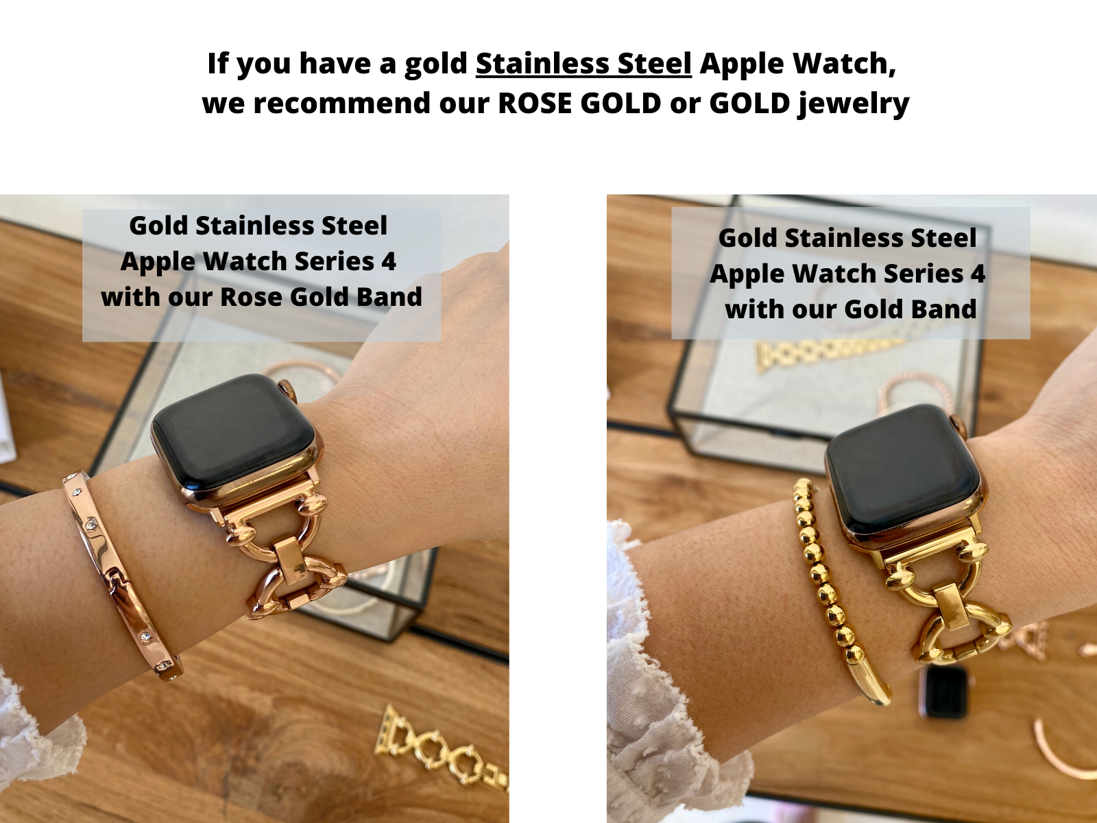 gold stainless steel apple watch gold or rose gold band