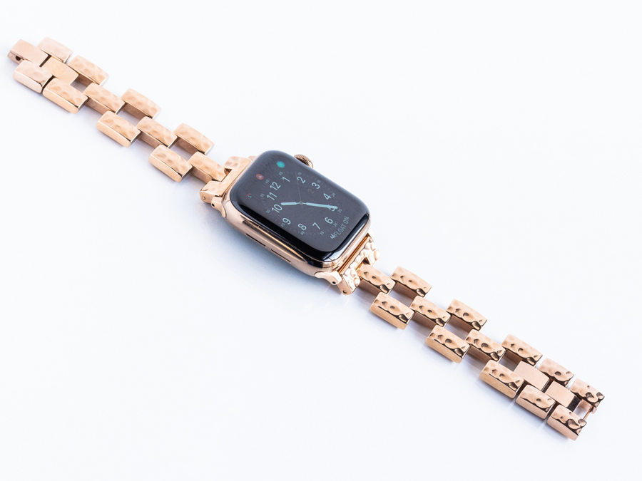 Hammered Link Bracelet for the Apple Watch in Rose Gold, Gold, or Silver