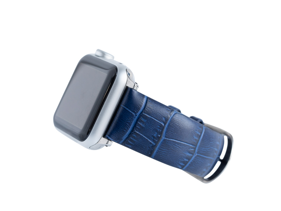 blue crocodile embossed band for the silver apple watch