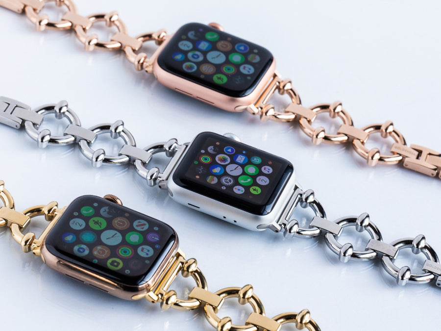 Designer Apple Watch bands - high quality stainless steel bands shown in three colors: yellow gold, silver, and roes gold