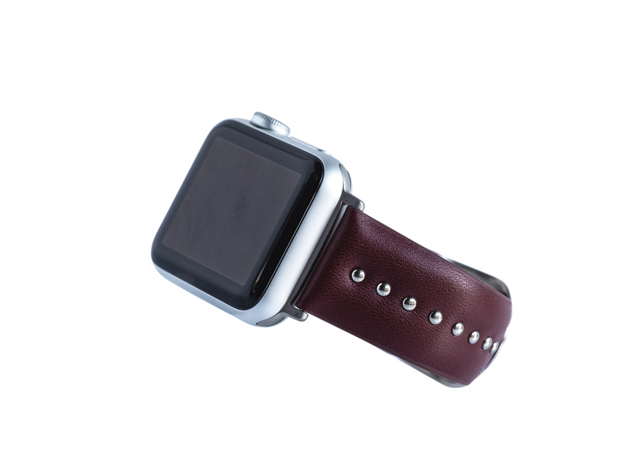 cool apple watch band for women - silver studs on burgundy genuine leather band