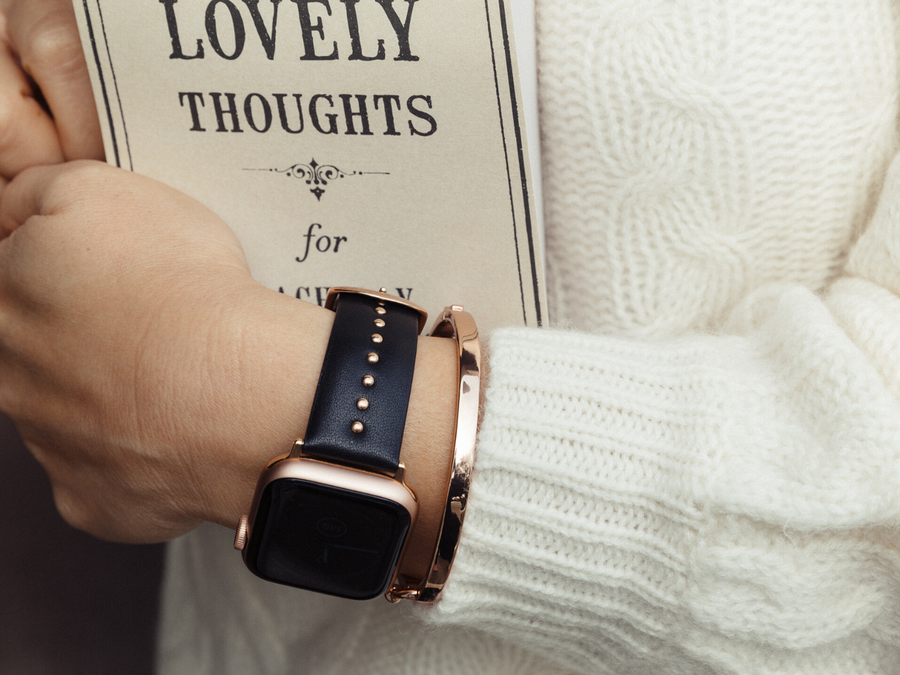 women's designer apple watch band - rose gold round studs on genuine leather