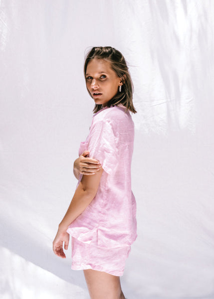 Daphne Dress Shirt | Pink Linen