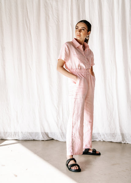 Full length linen dress pant, baby pink hand dyed exclusive to hall sote. The nost flattering fit. High waist design with an elastic waist. Classy, comfortable & stylish the must have this season The Aggie Pant.