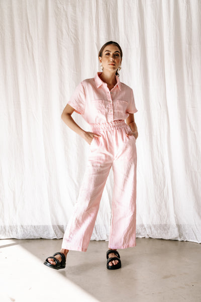 Aggie Dress Pant | Pink linen