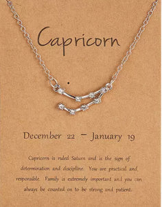 Shiny Crystal Star Zodiac Sign 12 Constellation Pendent Necklace