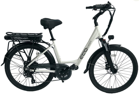 EcoMotion City 36V 350W Step Through City Electric Bicycle White