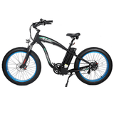 Ecotric Hammer 1000W Electric Fat Tire Cruiser Bike Black/blue