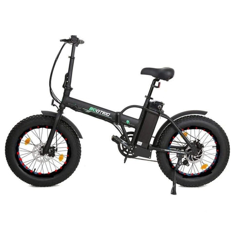 Ecotric 48V Folding 500W Electric Fat Tire City Bike Black