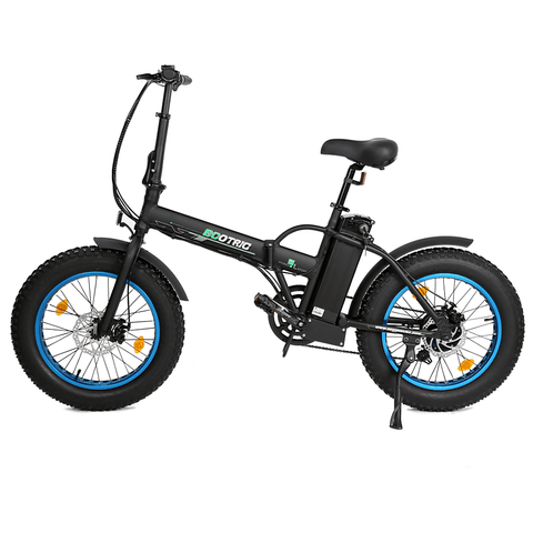 Ecotric Portable Folding 500W Electric Fat Tire City Bike Black/blue