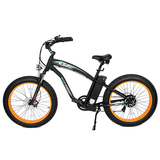 Ecotric Hammer 1000W Electric Fat Tire Cruiser Bike Black/orange