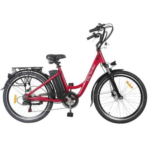 "Nakto 26"" City Stroller 250W Electric Cruiser Bike Red"