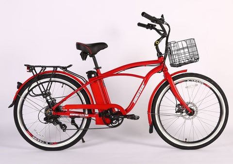 X-Treme Newport Elite Max 36 Volt Beach Cruiser Electric Bike Red
