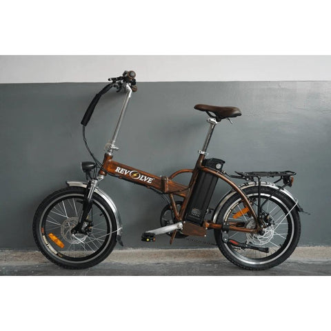 Revolve Handy Dandy Folding Electric City Bike Brown