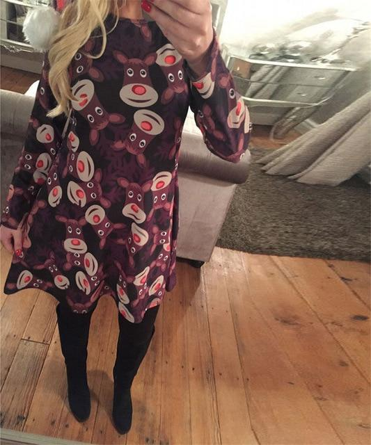 S-5XL Plus Size Christmas Day O Neck Long Sleeve Deer Snow Man Print Dress Women Clothes Casual Loose Knee Length Party Dresses