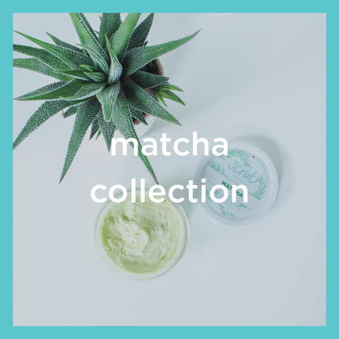 matcha body butter, matcha clay face mask, matcha collection, scrub inspired
