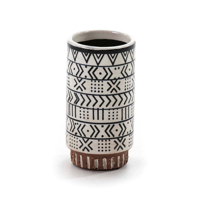 Design KNB 12Wx12Dx24H cm Ceramic Urn/Vase in White/Black/Brown/Ocre