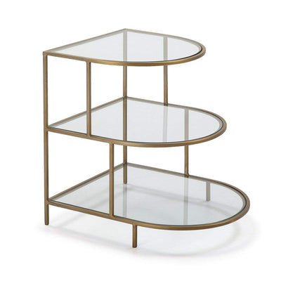 Design KNB 3 Tier Golden Metal Glass Side Table
