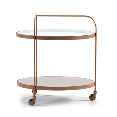 Design KNB Bar Cart in Rose Gold Metal with Glass and a  Mirror Top