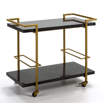 Design KNB Bar Cart with Black Granite shelves and Golden Metal surround
