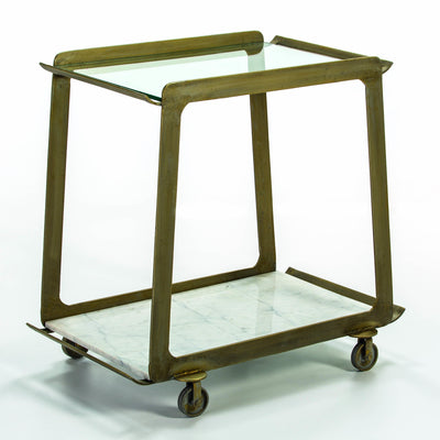 Design KNB Bar Cart with Glass Top Tray and a White Marble Base tray with a Golden Metal frame