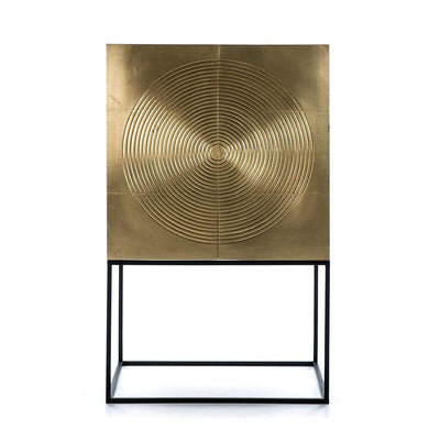 Design KNB Bar Cupboard/ Furniture made of Black and Golden Wood with Black metal legs