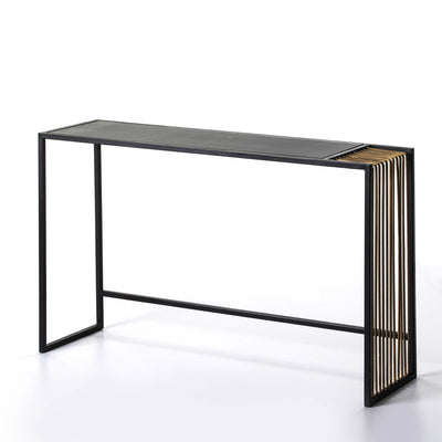 Design KNB Black and Golden Metal Console Table with an Aged Mirror Top