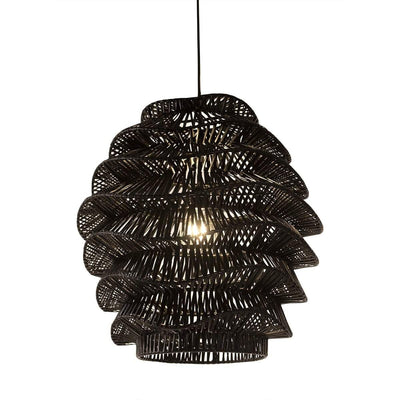 Design KNB Black Ceiling Lamp in Black/White Wicker