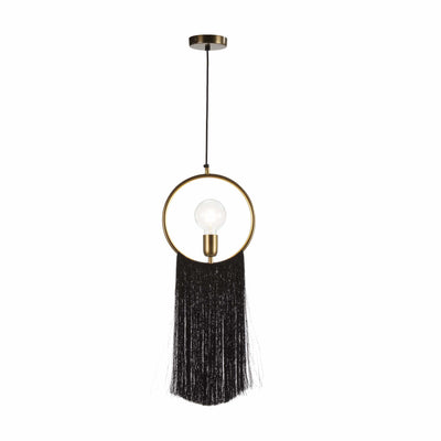 Design KNB Black Ceiling Lamp with Golden Metal and Fabric Threads