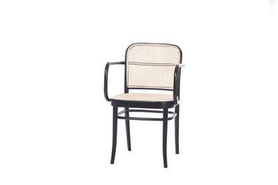 Design KNB Black No.811 Cane Armchair by Ton (Sold in a set of 2)