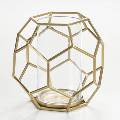 Design KNB Candle Holder in Glass and Golden Metal