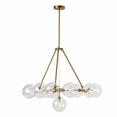 Design KNB Ceiling Lamp Chandelier with Glass and Golden Metal