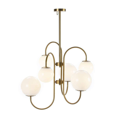 Design KNB Ceiling Lamp with White Glass and Golden Metal