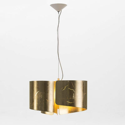 Design KNB Ceiling Light in Curved Golden Glass with a white metal ceiling attachment
