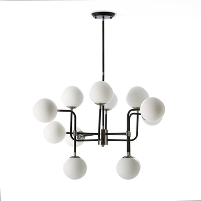 Design KNB Ceiling Light with a Black/Nickel Metal Structure with White Glass Lampshades