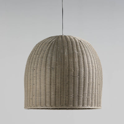 Design KNB Ceiling Light with a Grey Wicker Lampshade