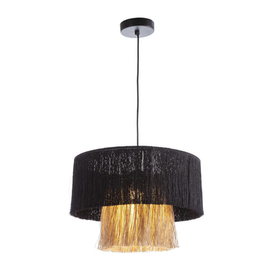 Design KNB Ceiling Light with a Jute Natural/Black Fabric Lampshade