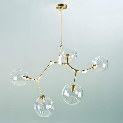 Design KNB Ceiling Light with Glass Lampshades in Golden Metal