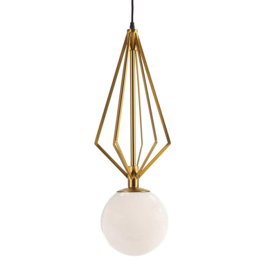 Design KNB Ceiling Light with White Glass and Golden Metal