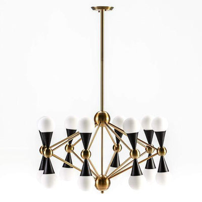 Design KNB Ceiling Light with White Glass Lampshades in Golden/Black Metal