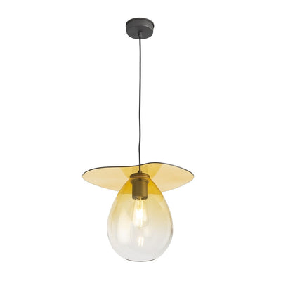 Design KNB Ceiling Pendant in Amber Glass