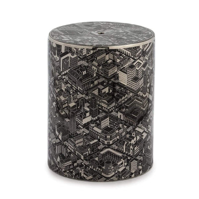 Design KNB Ceramic Stool/Side Table in Black and Silver with a pattern