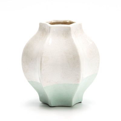 Design KNB Ceramic Vase in Green and White