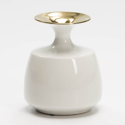 Design KNB Ceramic Vase in White and Gold