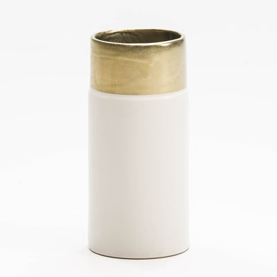 Design KNB Ceramic Vase in White/Gold
