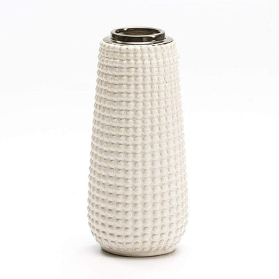 Design KNB Ceramic White and Golden Detailed Vase