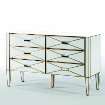 Design KNB Chest of Drawers in White/Transparent and Golden Mirror